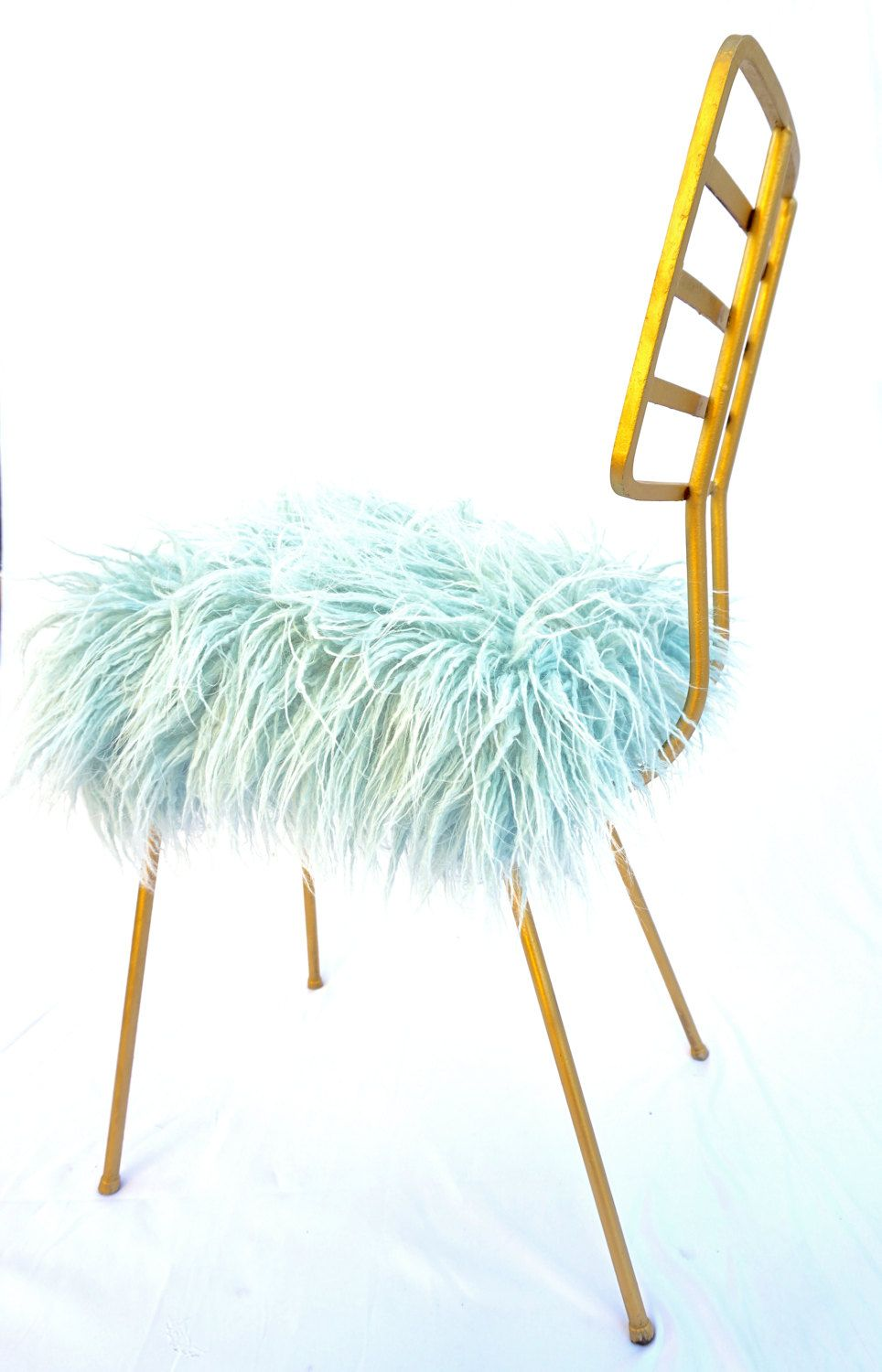 Mid Century Modern Gold Metal Light Blue Faux Fur Chair Glam Space Age Seating Arthur Umanoff Vanity Stool Desk Nursery Chair Metal Lighting Chair