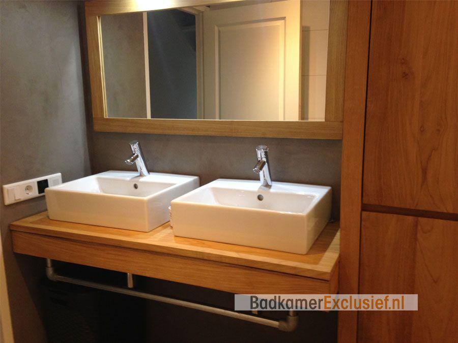 Zwevend teakhouten badkamermeubel met 2 keramieken wasbakken ...