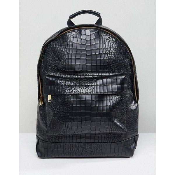 Mi-Pac Matt Crock Backpack Black ($66) ❤ liked on Polyvore featuring men's fashion, men's bags, men's backpacks, black, mens laptop backpack, mens one strap backpack and mens travel backpack