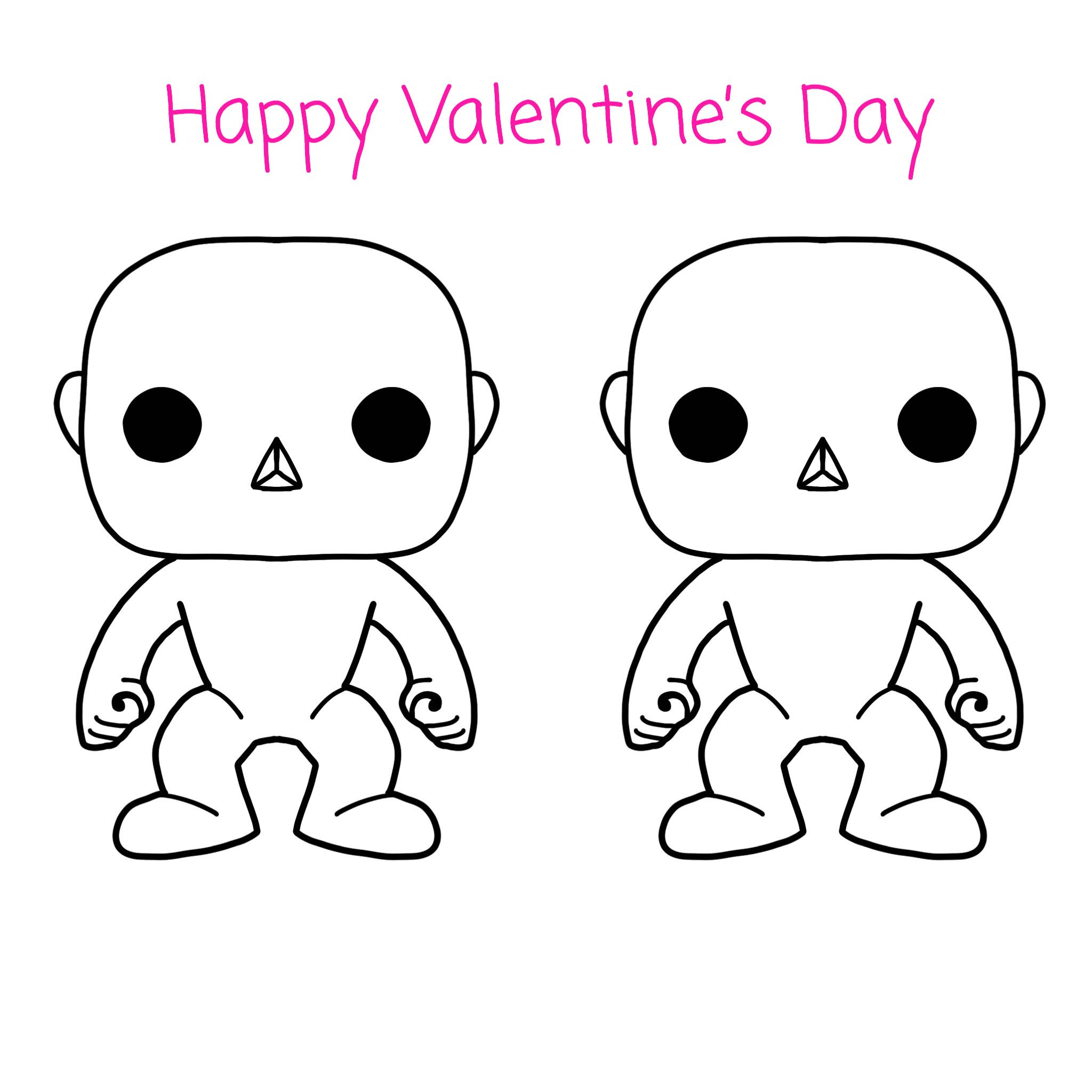 Valentine S Card Coloring Book Page Custom Funko Pop Couple