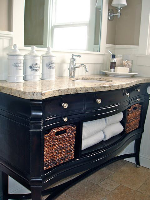 Love this wine buffet turned into a vanity and topped with for Old dresser made into bathroom vanity