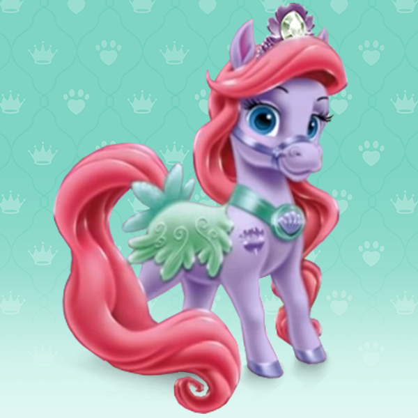 Seashell Is A Lavender Pony Who Is Ariel S Pet She Has Aqua Blue Eyes A Reddish Pink Mane And Tail Styled Like Ariel S Ha Palace Pets Disney Disney Princess