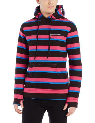 Discrete Bernie Pullover Hoody Black Stripes Small ** Read more at the  image link.