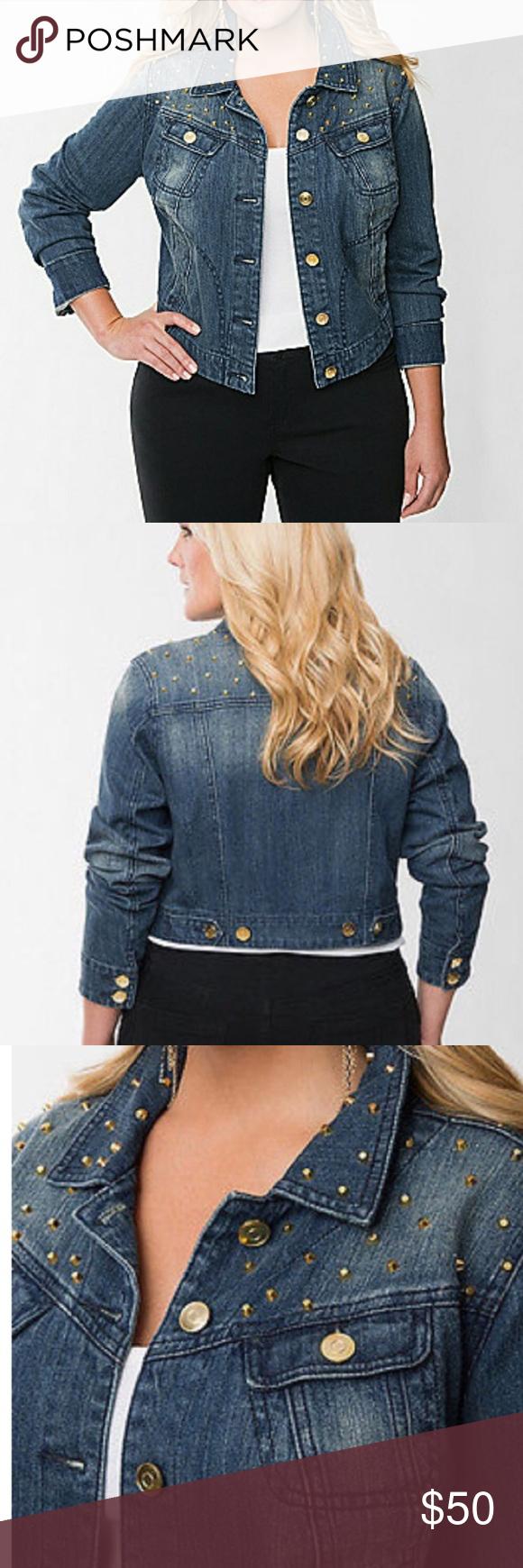 Lane Bryant Plus Size Studded Jean Jacket 18 Studded Jeans Long Sleeve Denim Jacket Jackets [ 1740 x 580 Pixel ]