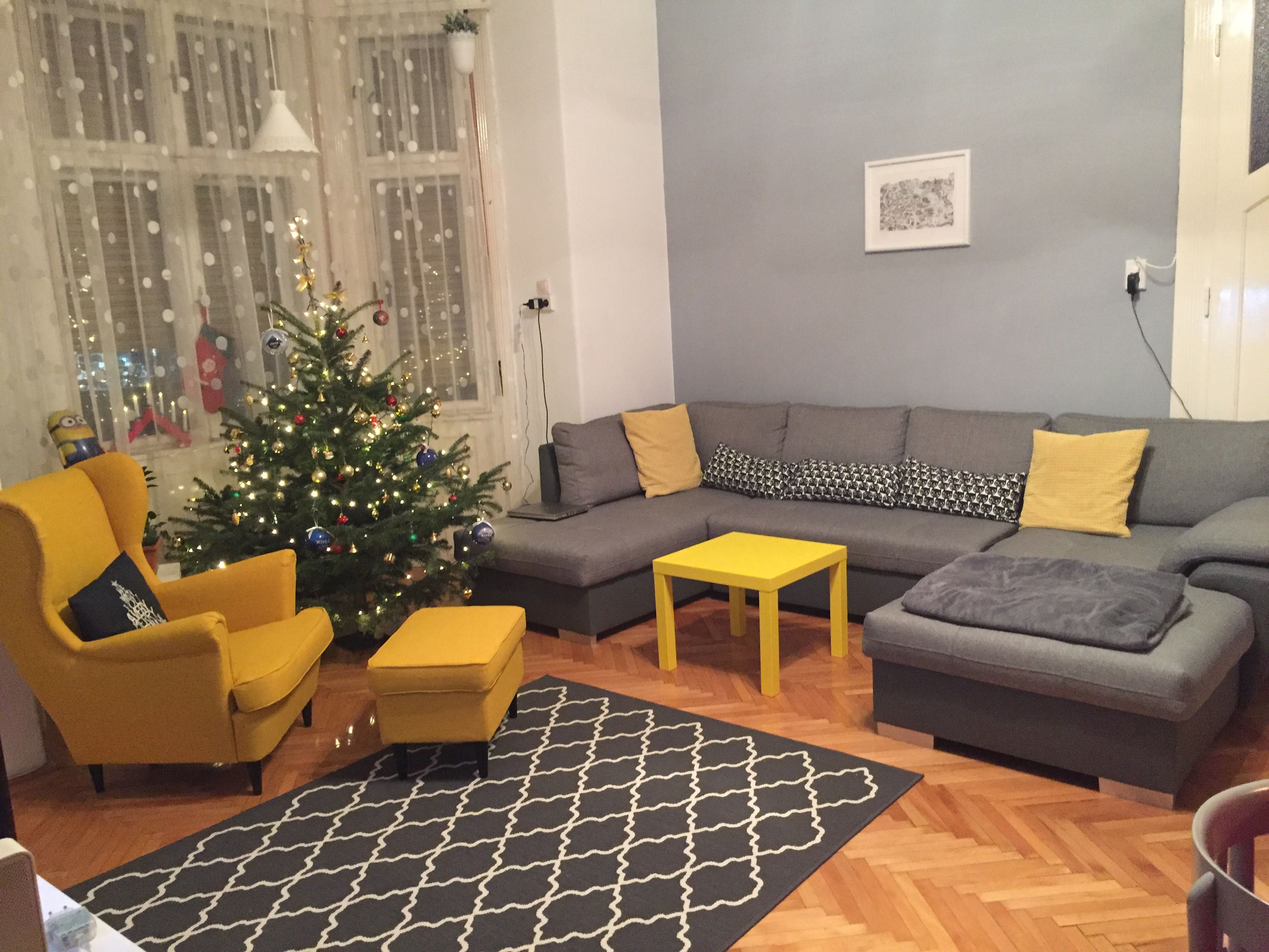 Living room #grey # yellow #livingroom #rug #armchair #ikea