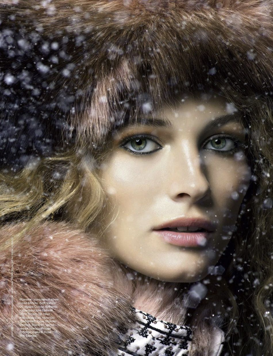 Hottest make-up trends: get ready for the New Year's Eve! Amazing Edita Vilkeviciute poses for the December issue of Allure Russia, captured by Raymond Meier and styled by Anya Ziourova. Make-up by Makky, hair by David von Cannon.