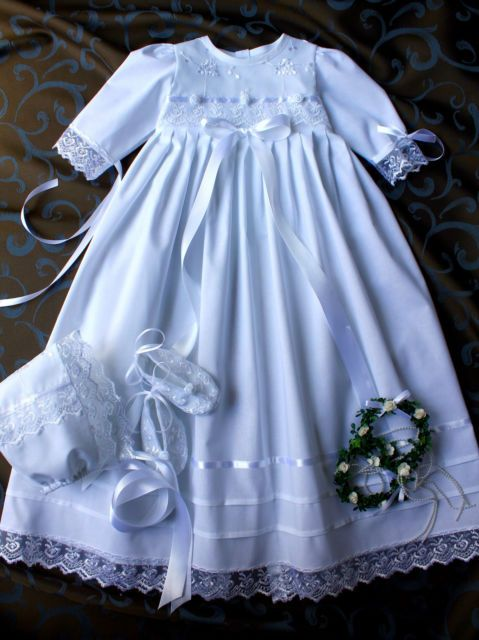 Taufkleid 3 Tlg Babyjunge Mädchen Gr 56 86 Baumwolle