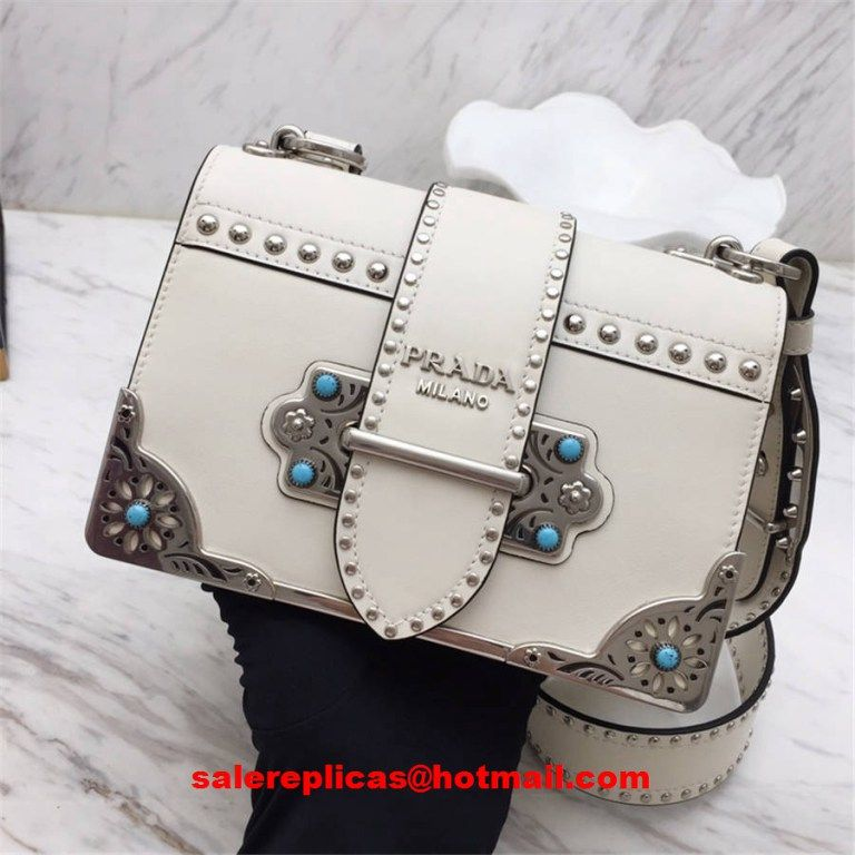 584bdc2232dd Prada cahier studded calf leather bag 1BD045 White
