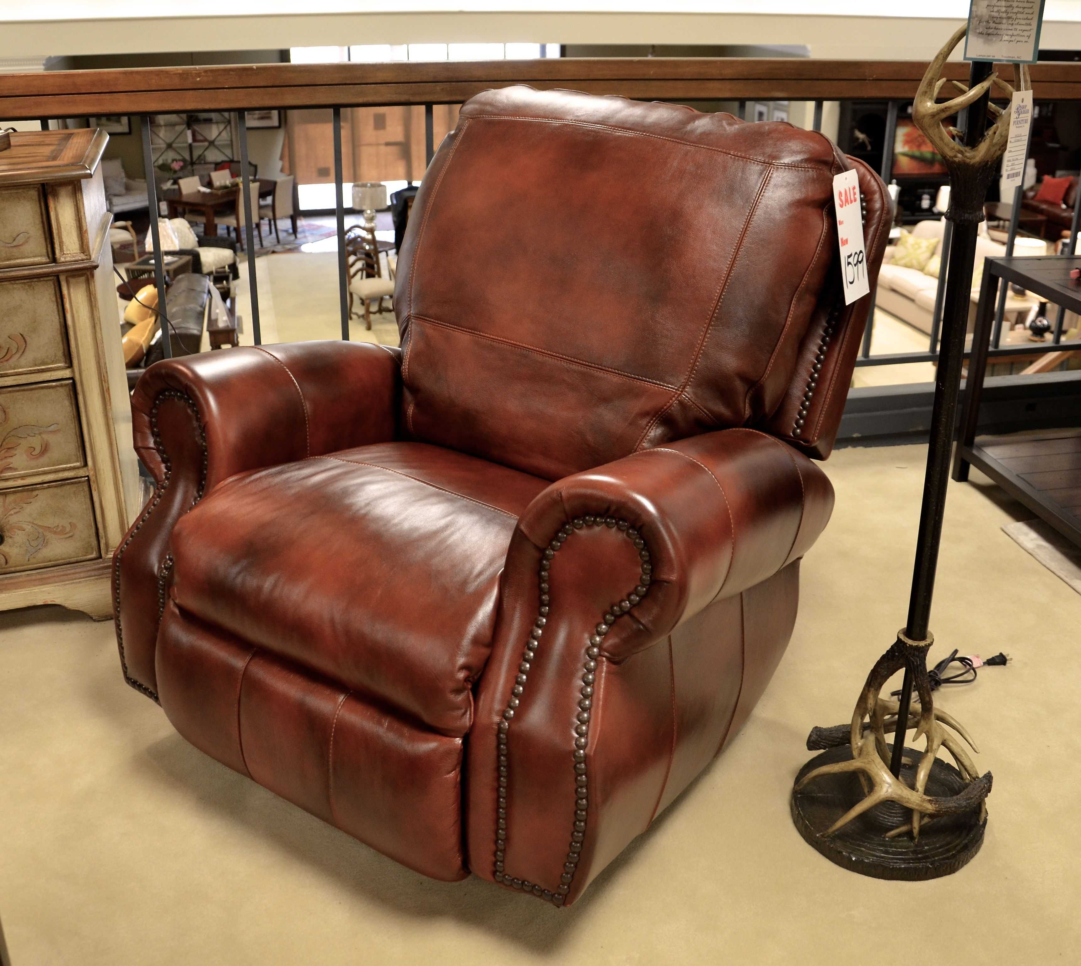 Baseball Leather Sofa Lazyboy Beds Russet Brown Recliner With Stitching And