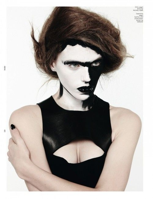 By Daniel Jackson, styled by Karen Langley. With eye-catching black and white makeup by Yadim