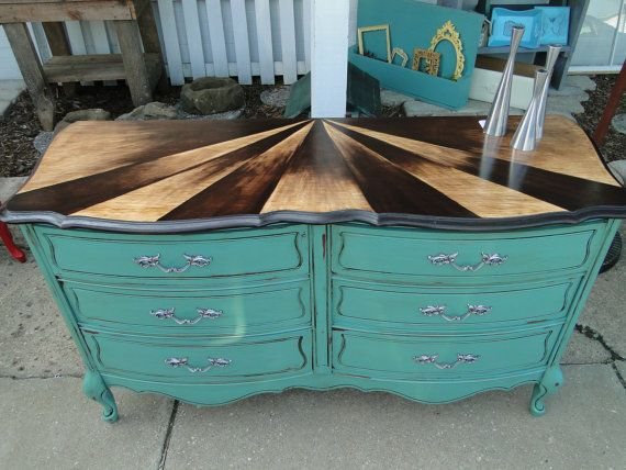 Vintage French Provincial Dresser Shaded Stained Top Aqua Teal Turquoise Distressed Silver Handles Sunburst Refinished