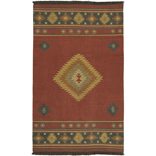 Best Hand Woven Burgundy Southwestern Aztec Santa Fe Wool Rug 400 x 300
