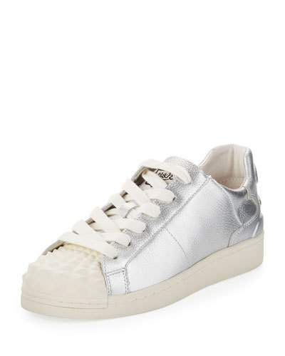 Crack Metallic Lace-Up Sneaker, Silver