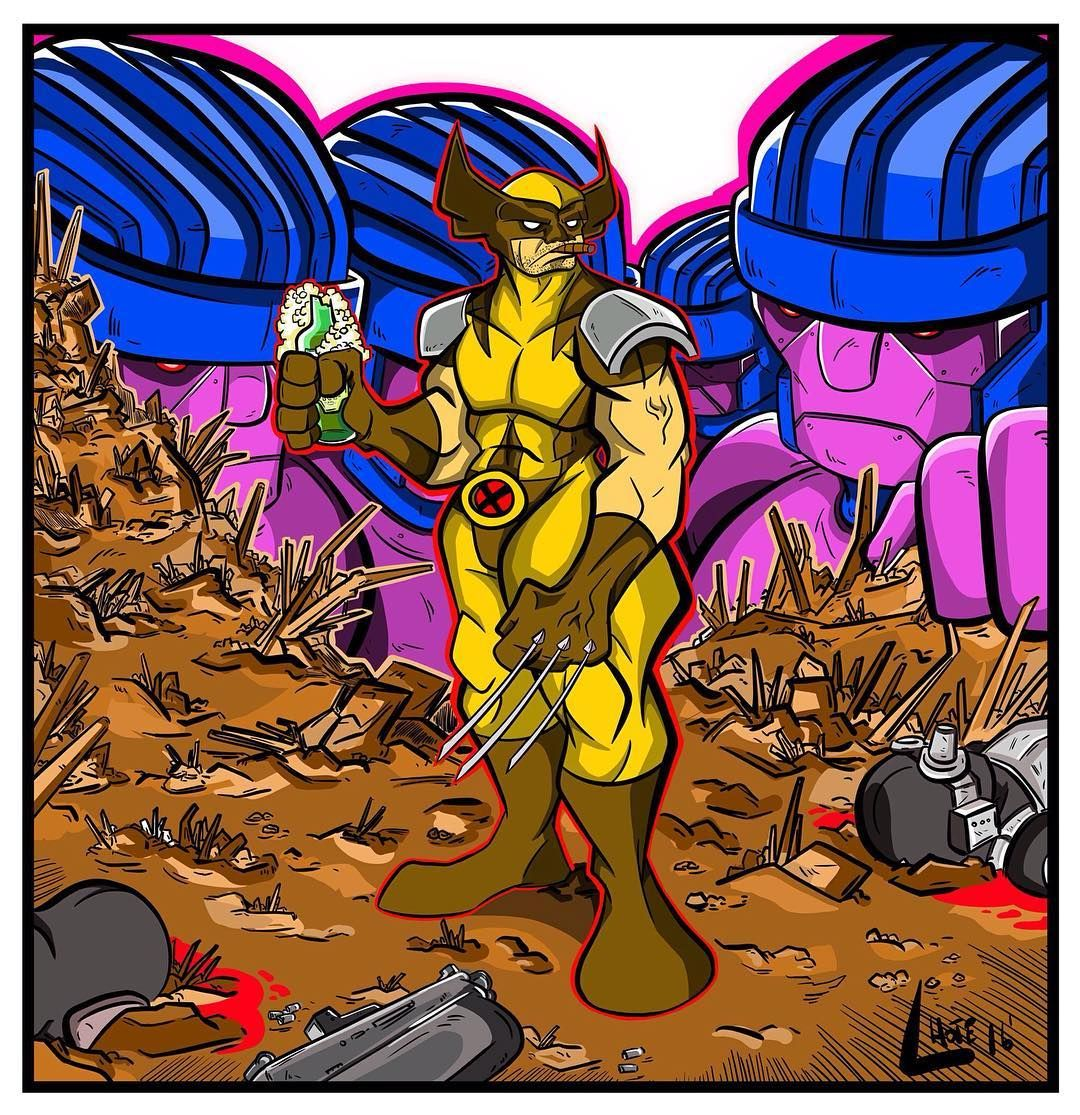 Wolverine - Xmen Classic. #madewithwacom #wacom #cintiq #companion #instasize #instadaily #dailyart #digitalart #digital #painting #xmen #marvel #mutant #sentinel #illustration #classic #wolverine #logan #badass #beer #cigar #drawing