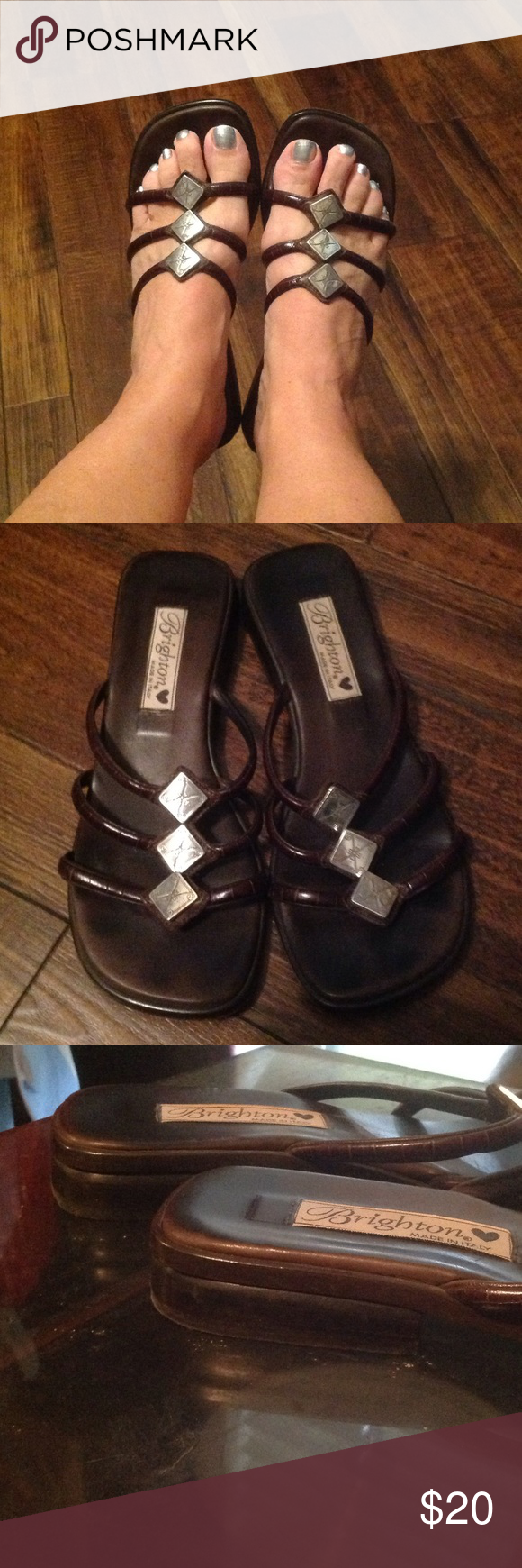 """Brighton """"Love"""" Sandals Chocolate brown leather croc sandals. Worn with lots of """"Love"""". Heels still in tact, silver squares still attached. Brighton Shoes Sandals"""