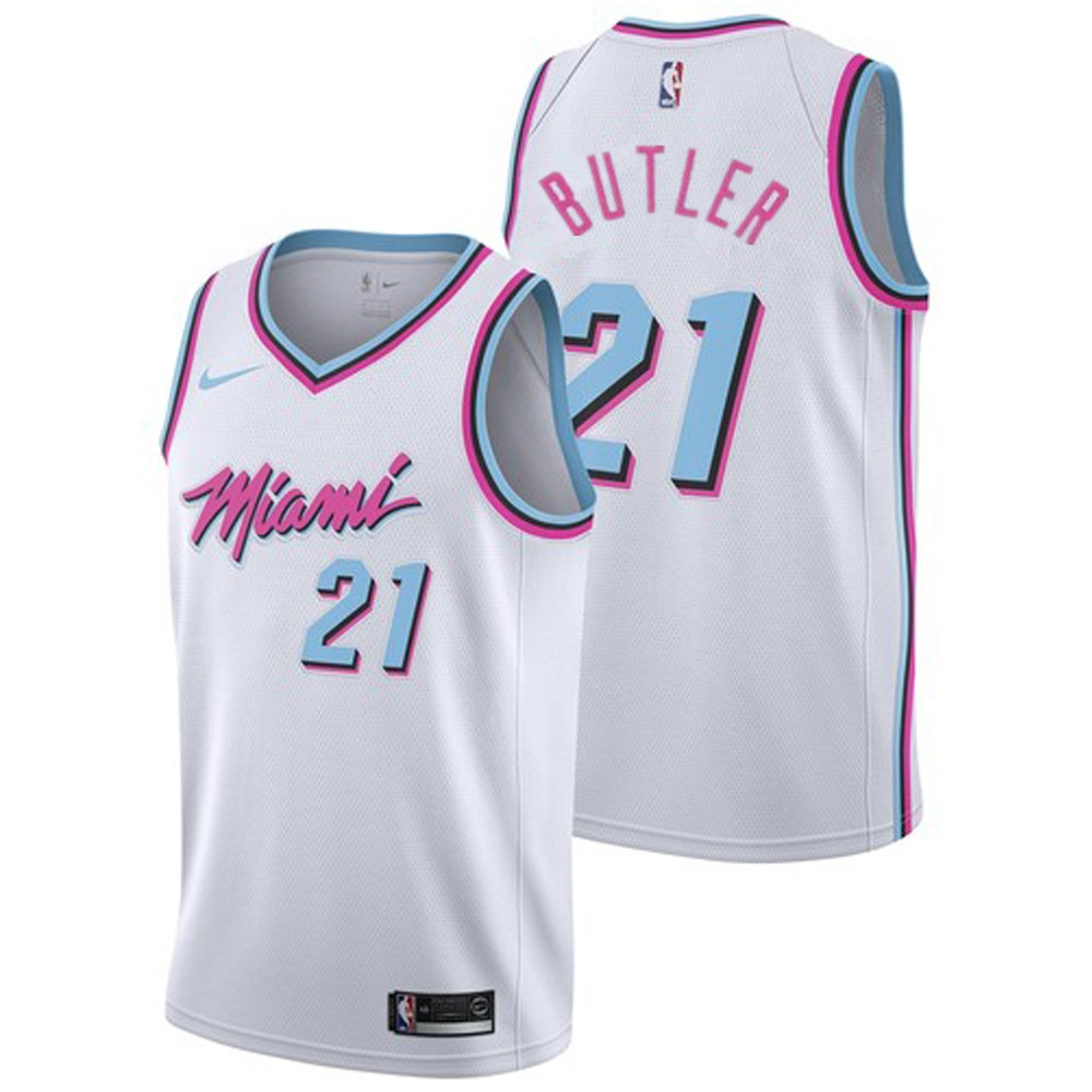 reputable site ed286 2986c Men's Miami Heat #21 Jimmy Butler White with Pink City ...