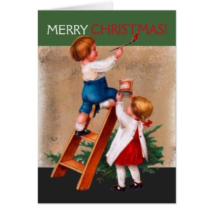 children painting christmas card created by crazetique this design is available in several sizes and is totally customizable