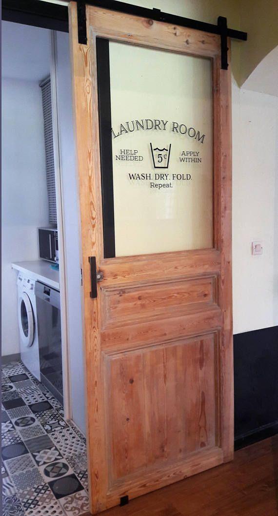 Waschküche Hilfe benötigt gelten innerhalb der Wäsche trocken falten wiederholen Wall Decal Waschküche Dekor Zeichen, Waschküche Tür, Wandtattoo, Vinyl HH2126