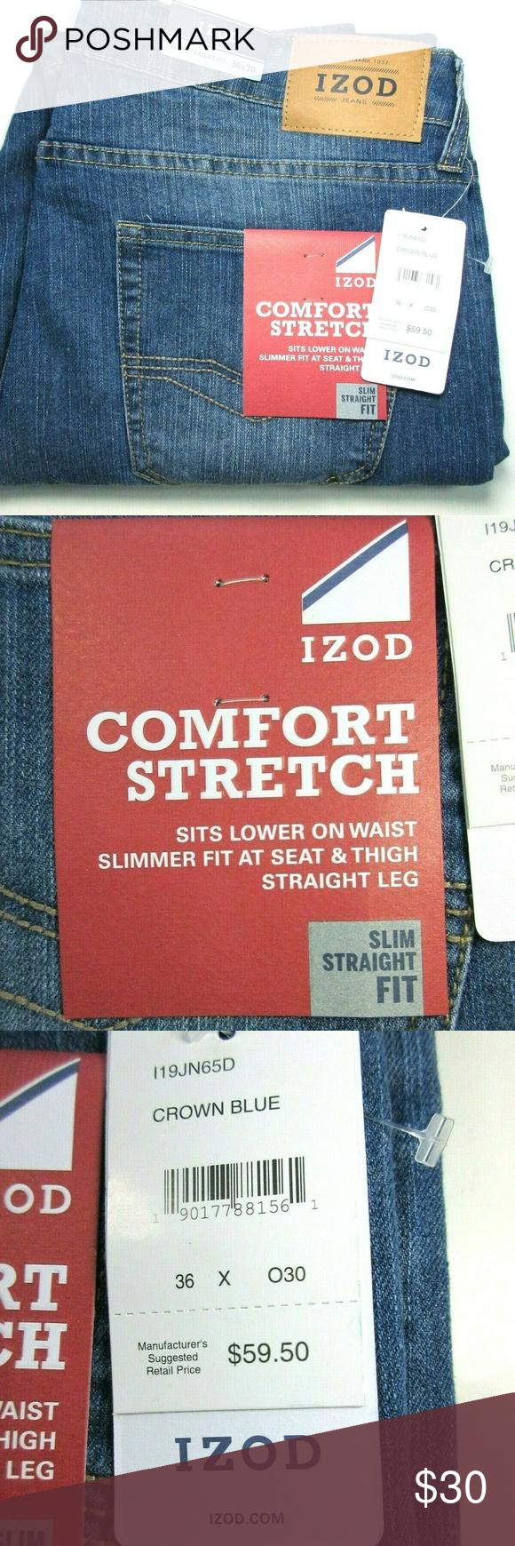 1c1b56c46679a IZOD Men Comfort Stretch Slim Straight Jeans 36x30 IZOD Men's ...