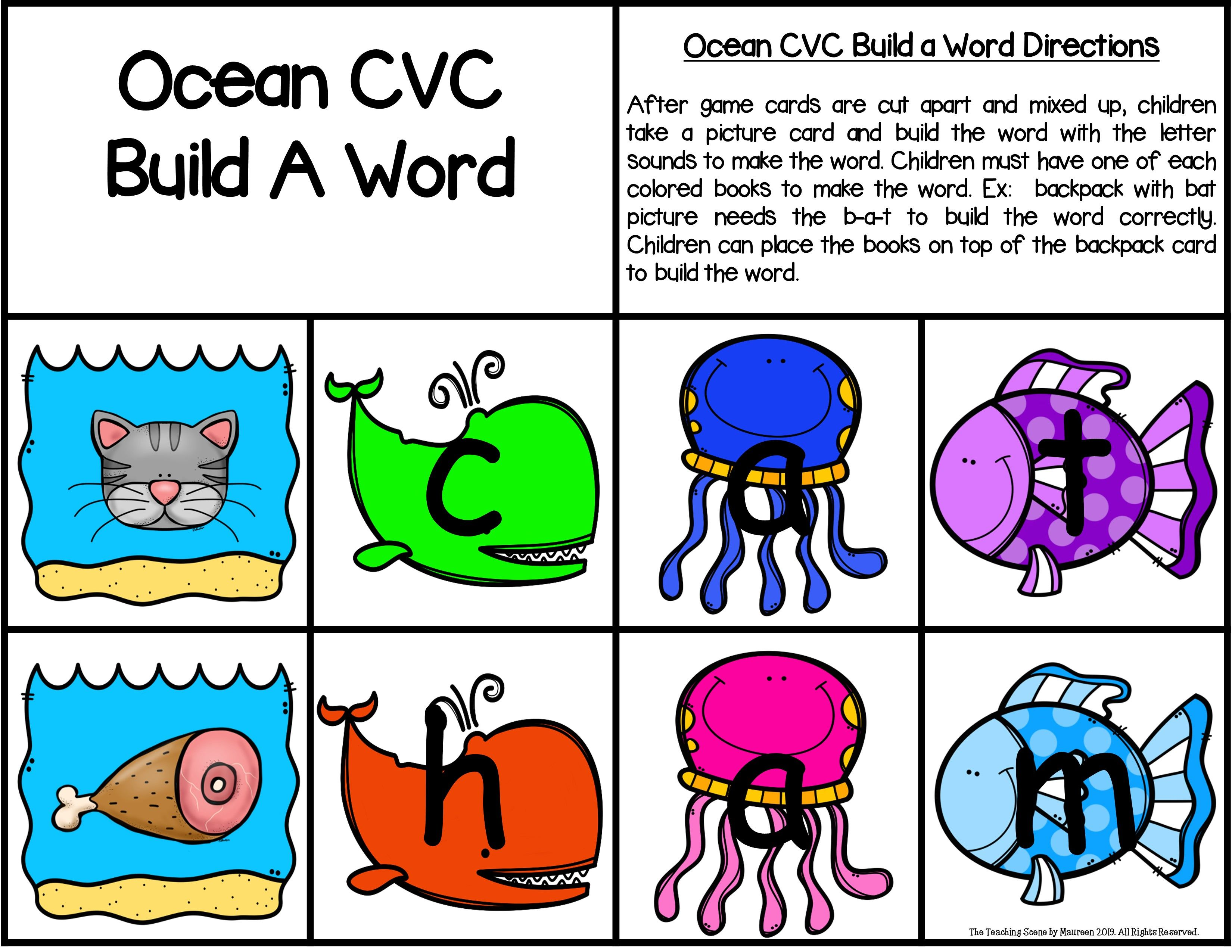 Ocean Build A Word Phonics Game For K 2nd Special