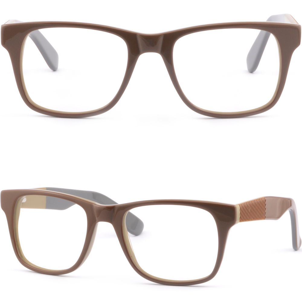 ab3d200307 Full Rim Mens Womens Thick Acetate Plastic Frame Spring Hinges Eye Glasses  Brown