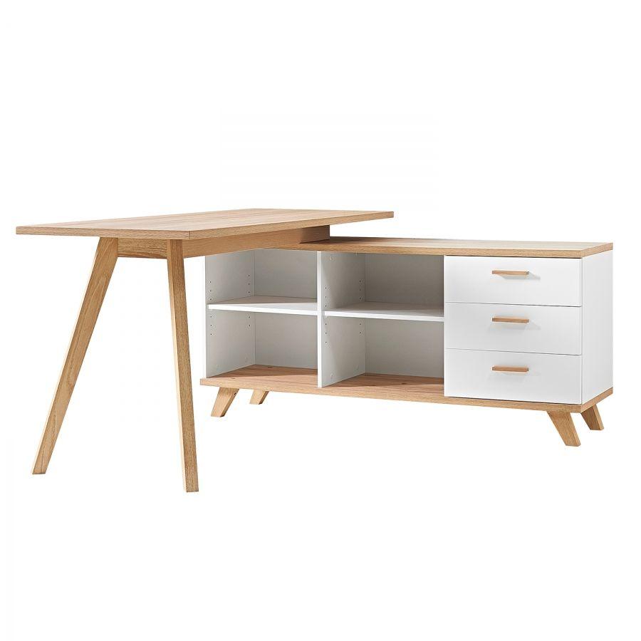 Eckschreibtisch weiß matt  Eckschreibtisch Neston - Eiche Sanremo Dekor/Weiß | Schreibtisch ...