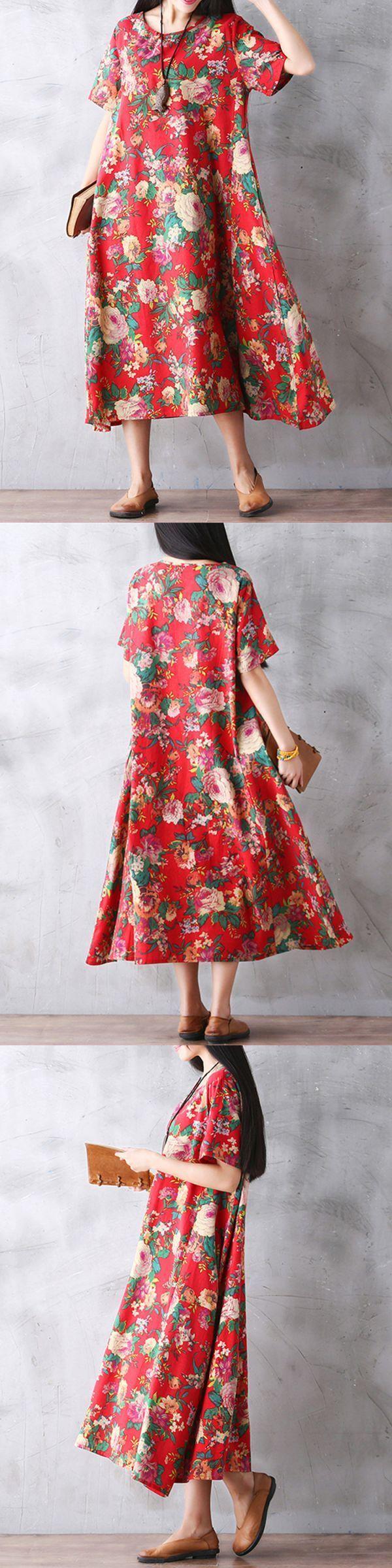 Gracila floral printed women loose short sleeve maxi dresses maxi