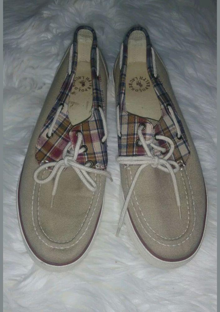 ad64c0358117 Polo Ralph Lauren Mens Franz Boat Shoes Madras Plaid Size 10.5 Beige Canvas