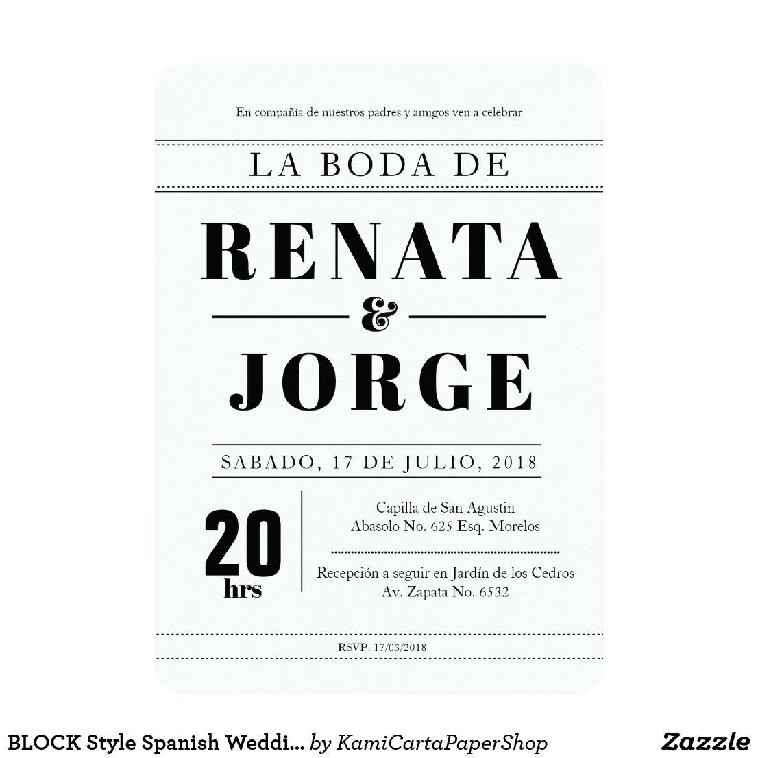 Block style spanish wedding invitation