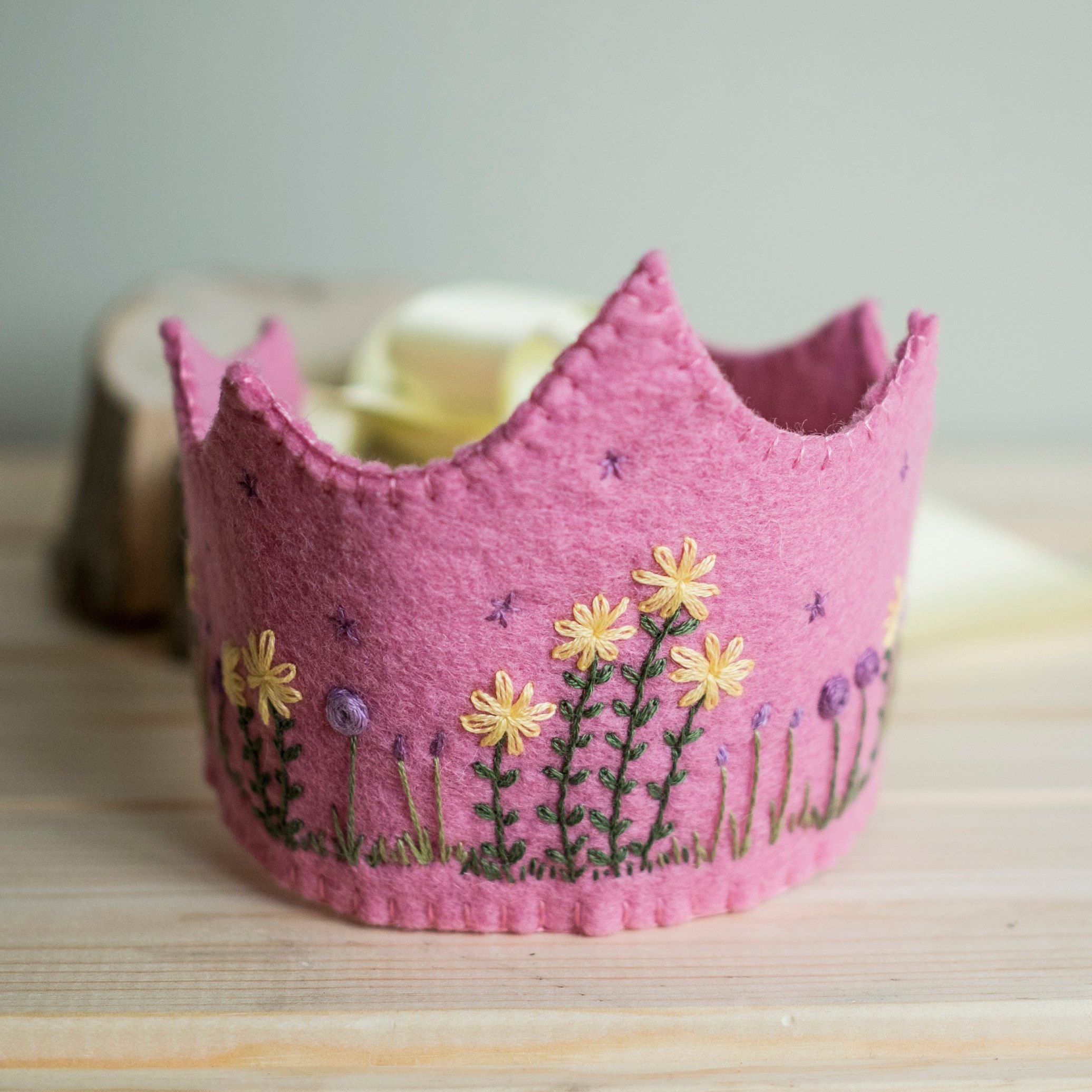 Birthday Crown, Waldorf, First birthday, Embroidered, Flower Garden, Keepsake gift, 100% Wool Felt, For Girls