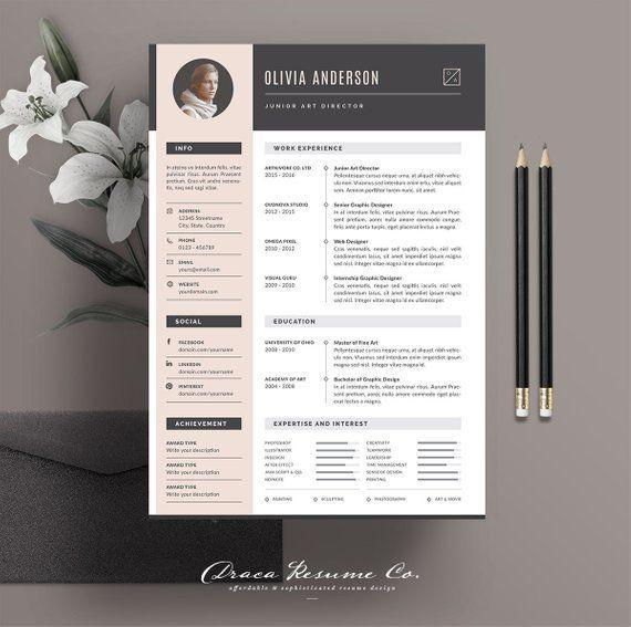Professional Resume Template, Modern CV Template, Creative Resume