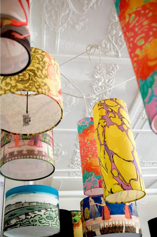 Patterned Lampshades Big Bold Pattern Trend  Lampshades Stenciling And Shapes