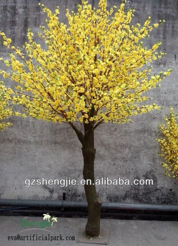Guangzhou Facory Wholesale Cheap Decorative Fake Ornamental Artificial Indoor Orange Yellow Fake Flowers Decor Artificial Trees Artificial Cherry Blossom Tree
