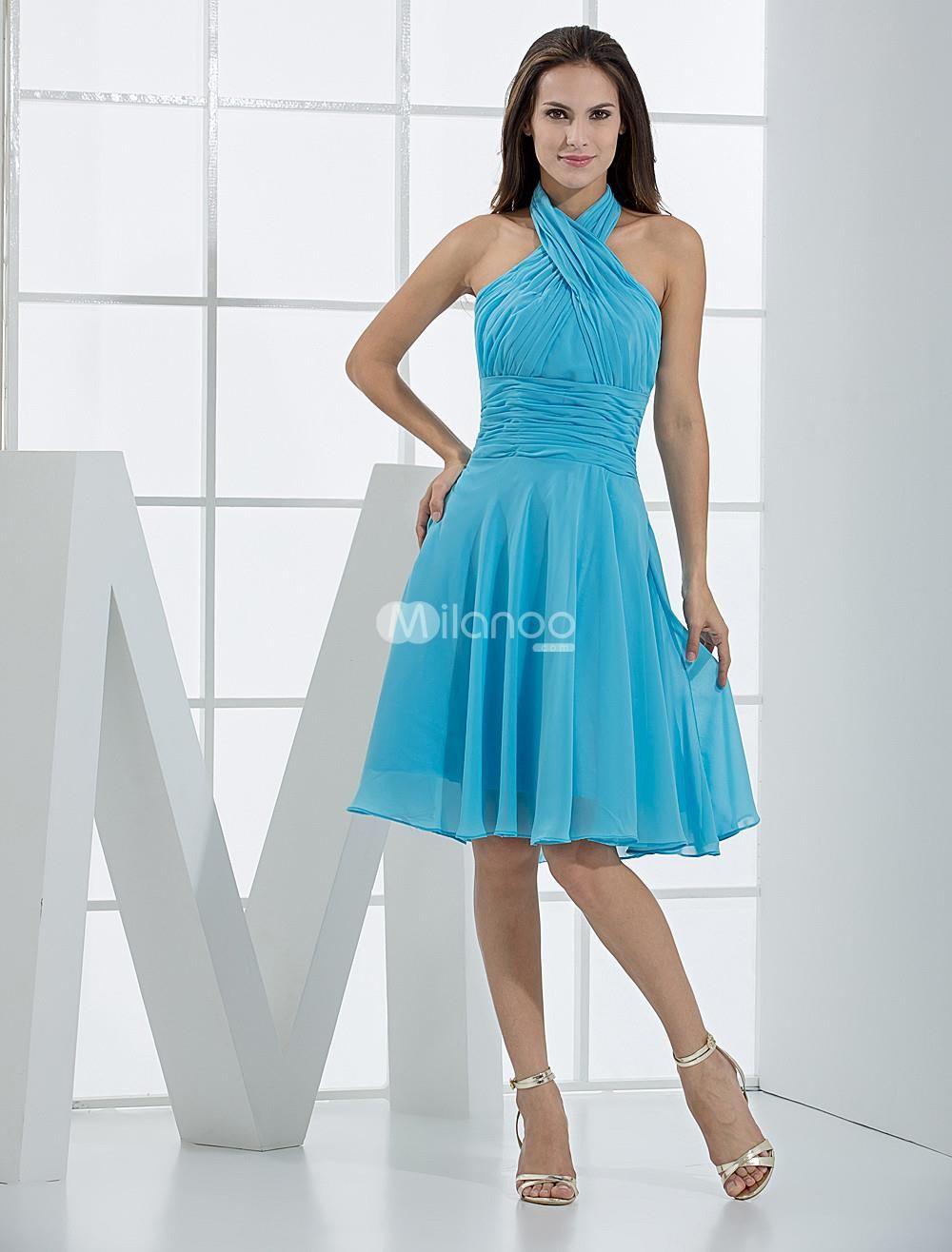 Blue Romantic A-line Pleated Bodice Chiffon Satin Bridesmaid Summer ...