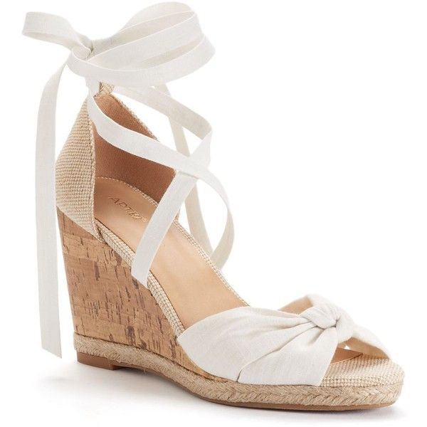 8f9406fe5 Apt. 9® Cheery Women's Wedge Sandals ($35) ❤ liked on Polyvore featuring  shoes, sandals, white, lace-up sandals, peep toe wedge sandals, ...