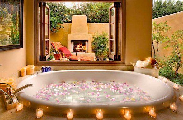 Hot Tub Near Fireplace Romantic Bathrooms Romantic Bathtubs Romantic Bath
