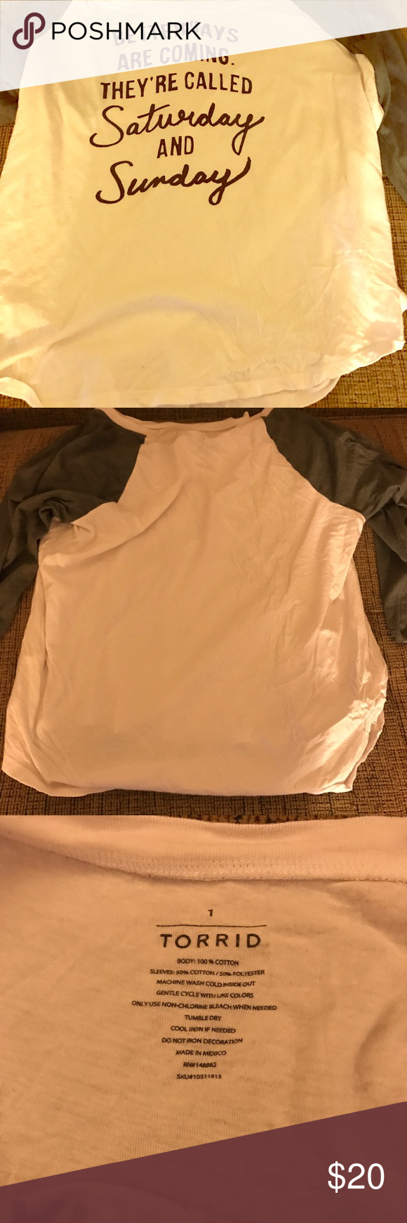 Torrid Raglan Tee size 1 This a raglan tee from Torrid. It's a Torrid size 1 which is equivalent to a size 14/16. It has only been worn a handful of times. It's in excellent condition. It comes from a pet free/smoke free home! torrid Tops Tees - Long Sleeve