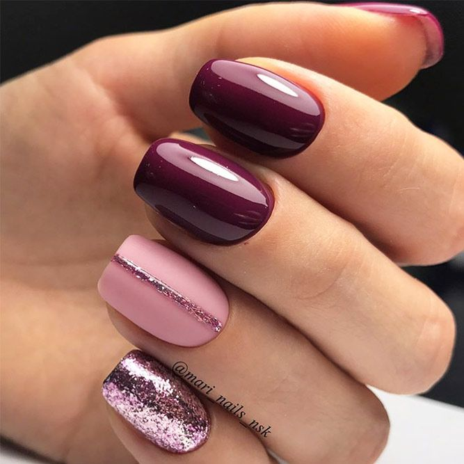 Call them burgundy, dark red, or maroon, but we prefer to refer to them as  wine nails. Wine nail colors are the hottest nail trend this year and for  good ... - 48 Must Try Fall Nail Designs And Ideas UÑAS Pinterest Makeup