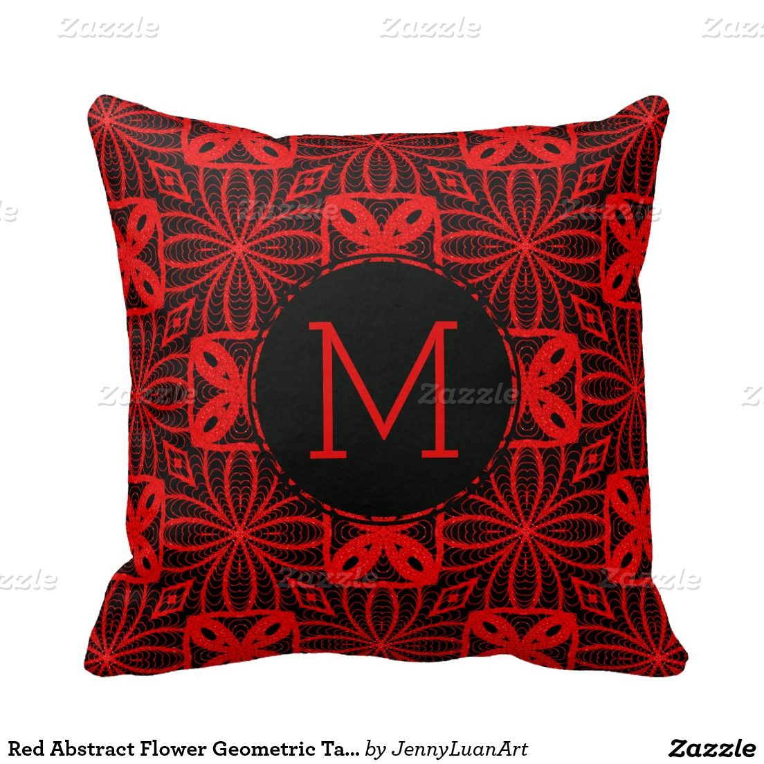 Red Abstract Flower Geometric Tangle Pattern Throw Pillows