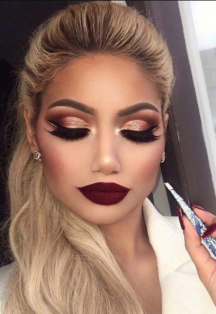 Crazy Brown And Rose Gold Cut Crease With A Dark Red Lip Makeup
