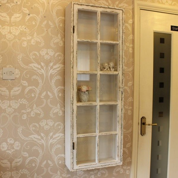 Antique White Distressed Wall Display Cabinet   Display Cabinets   Browse  By Product