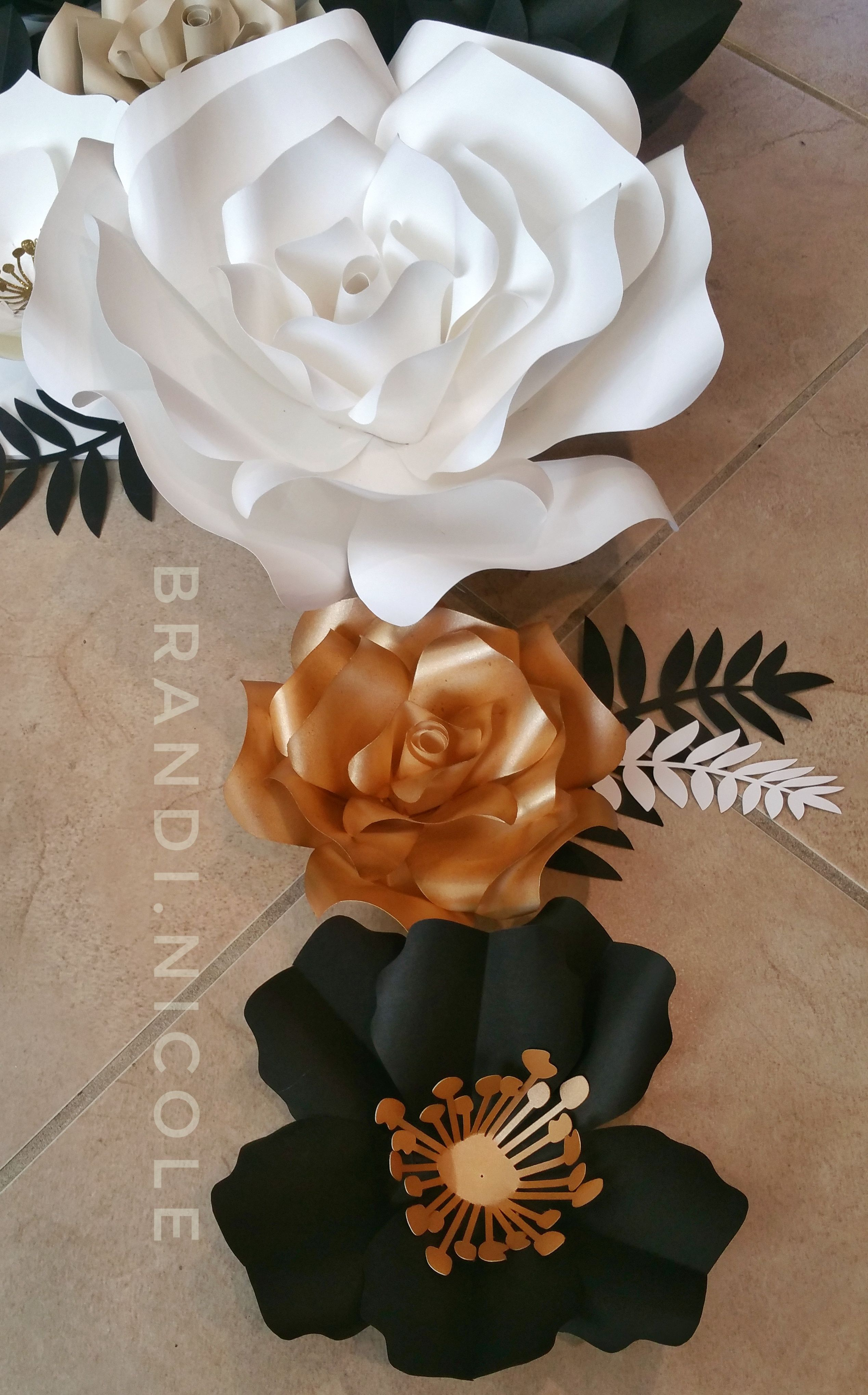 White Black And Gold Giant Paper Flowers Created By Brandi Nicole