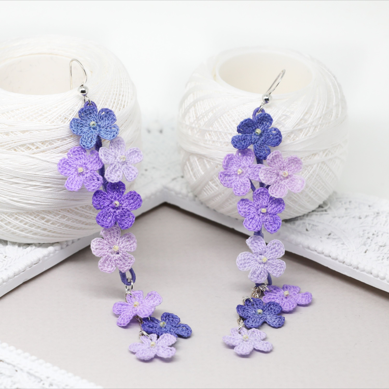 Mori girl cute earrings Cool earrings Pansy earrings Crochet earrings