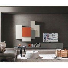 Designer Wohnwand C49 Lowboard Mit TV Säulen Halterung Hängeschränke Grau  Matt
