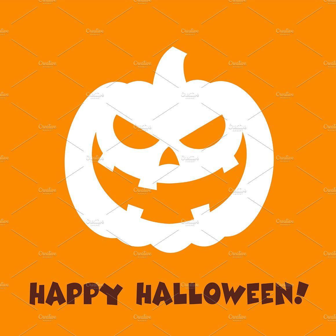 Evil Halloween Pumpkin Aff Character Face Flat