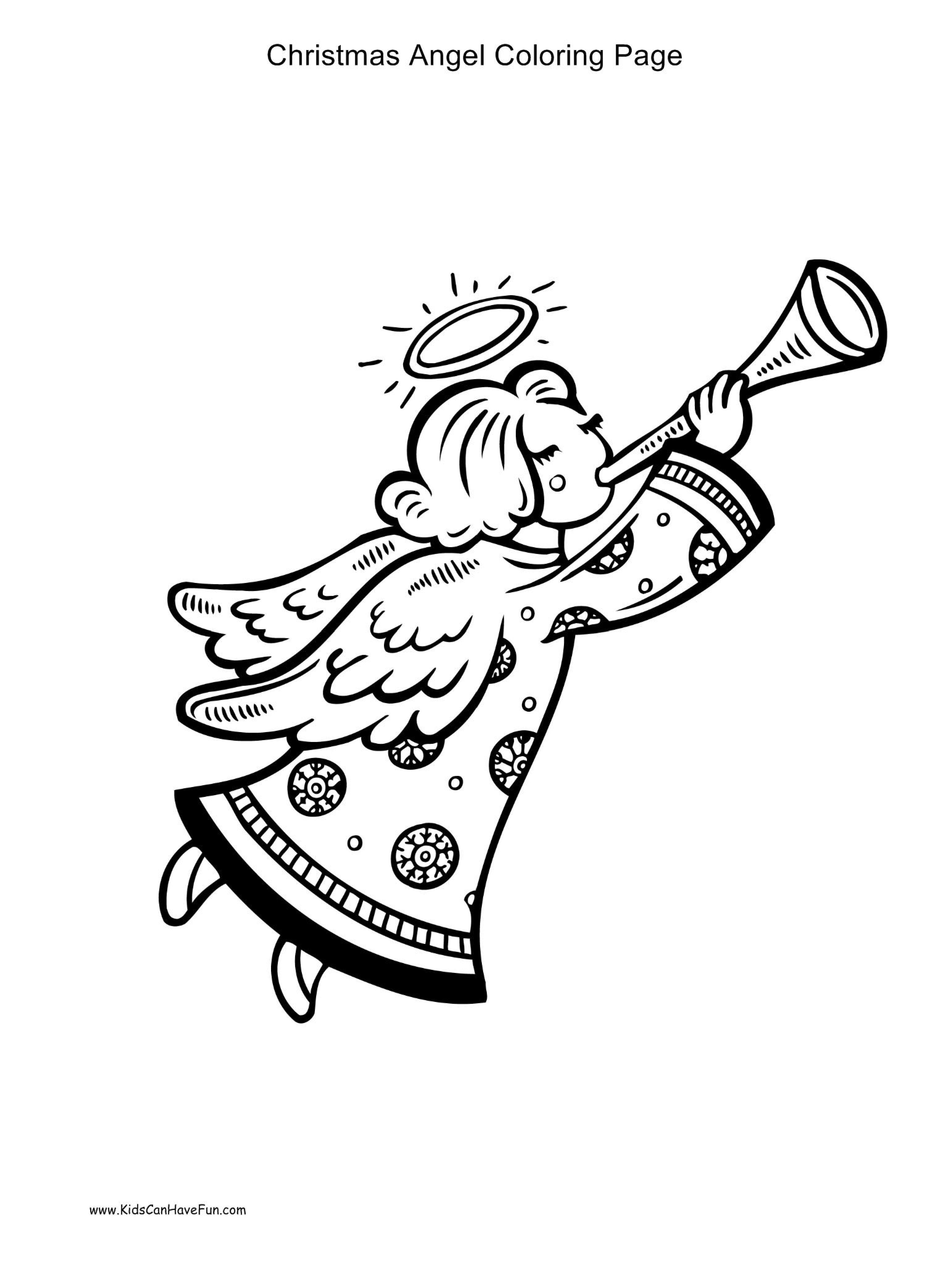Christmas Angel Blowing Horn Coloring Page Kidscanhavefun Coloringhtm