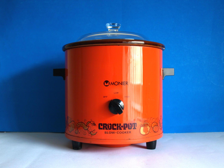 Retro Monier Orange & Red Crock Pot - 70s Slow Crock Cooker and ...