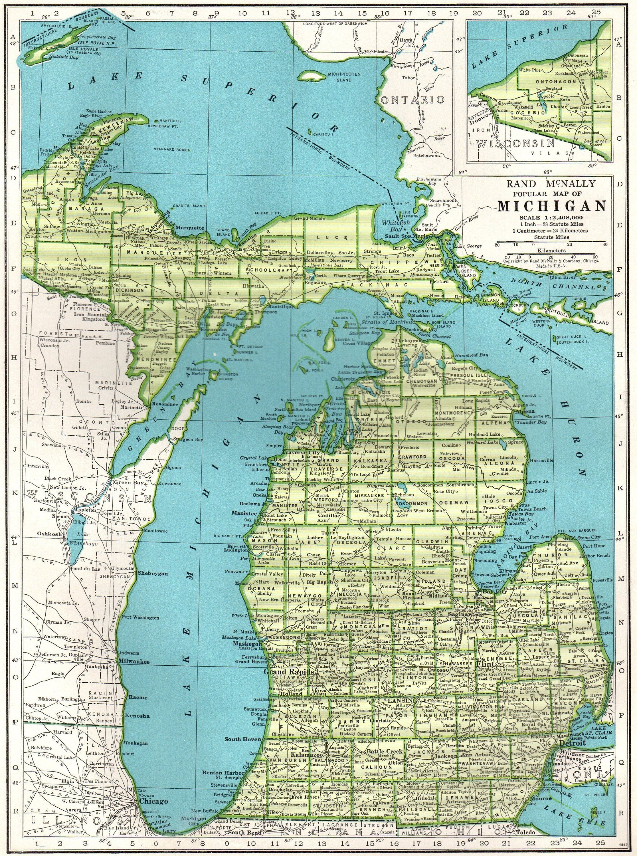 1942 Vintage Michigan Map Antique State Map Of Michigan Gallery Wall