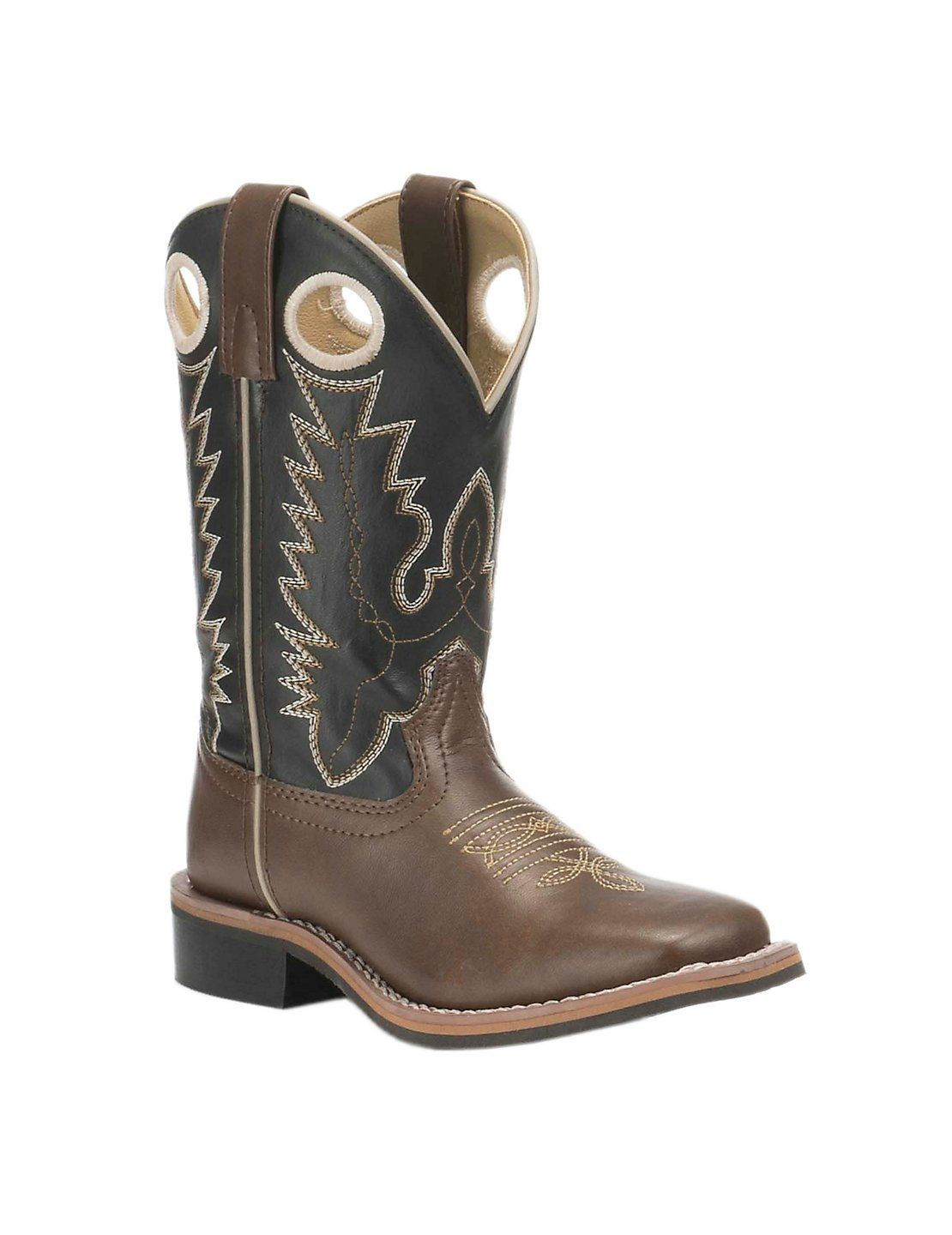 YOUTH Smoky Mountain Boots Western Cowboy NEW Leather Black /& Tan