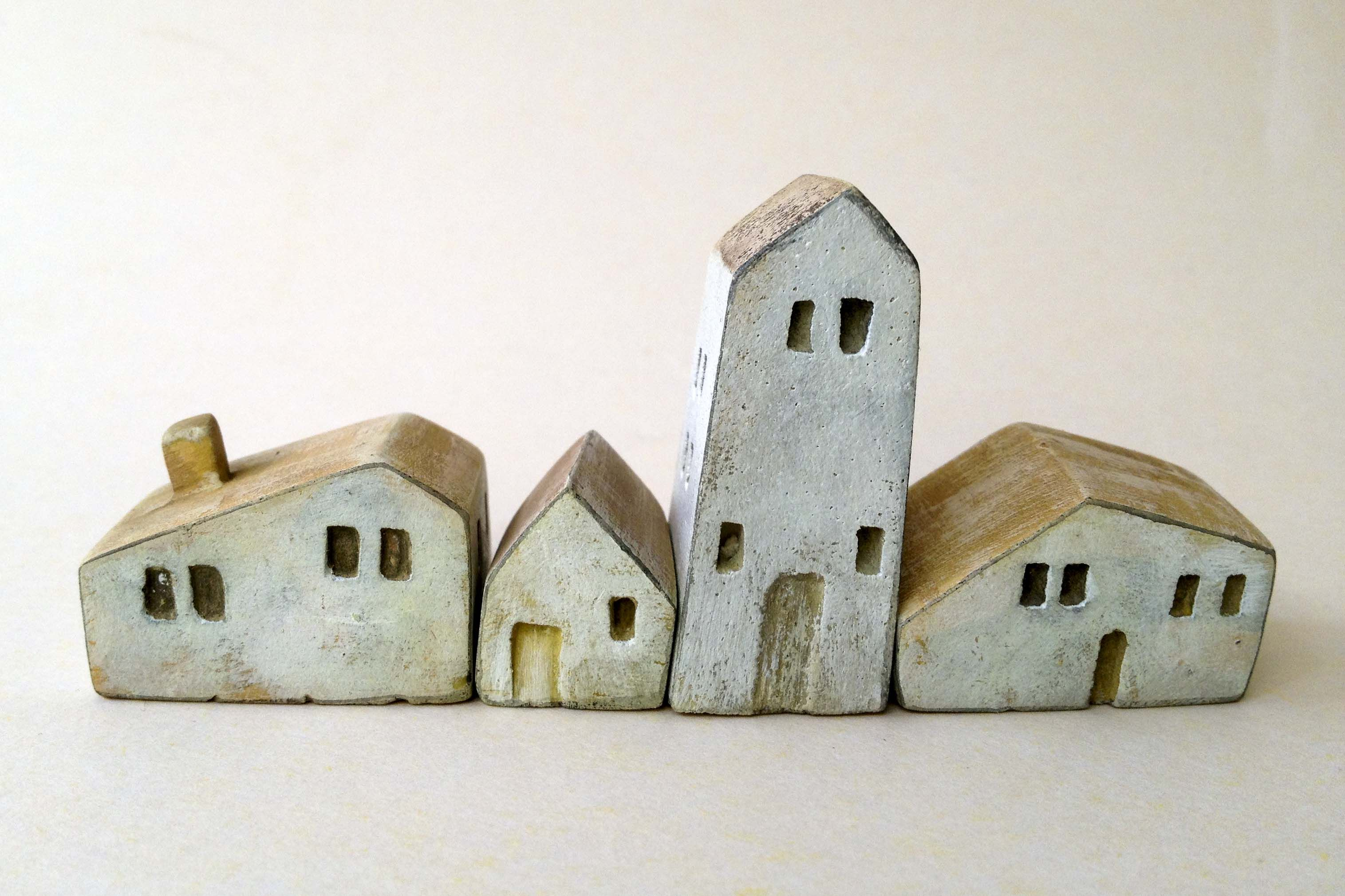 Ceramic christmas houses to paint - Miniature Ceramic And Wooden Houses Home Decor Handmade Unique Gift Christmas Gift
